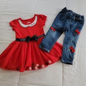NWOT Gap Disney Minnie Jeggings and Pom Pom Dress